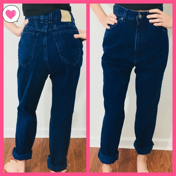 7b20904d21f Lee Denim - Vintage Lee dark indigo high waisted Mom jeans 29